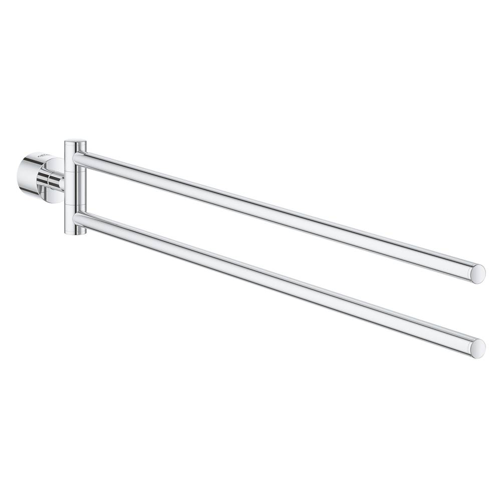 GROHE 40371001 Essentials 17 Two-Arm Towel Holder in Starlight Chrome