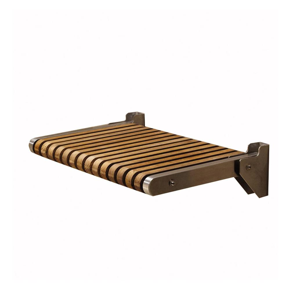 MTI Baths   TK SSEAT2416BNS   TEAK SHOWER SEAT 24x16  NATURAL STAINLESS